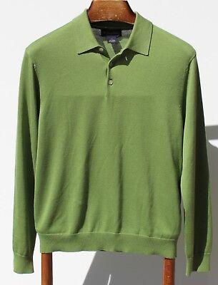 Brooks Brothers M Light Green 70% Silk / 30% Cotton Three-Button Sweater/ Jumper