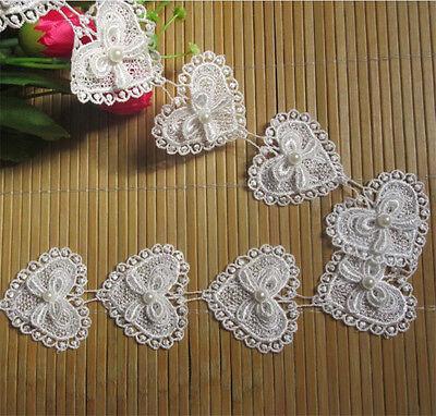 5Pcs Lace Bow Heart Pearl Applique Patch Sewing Craft Trim Dress Ribbon Motif