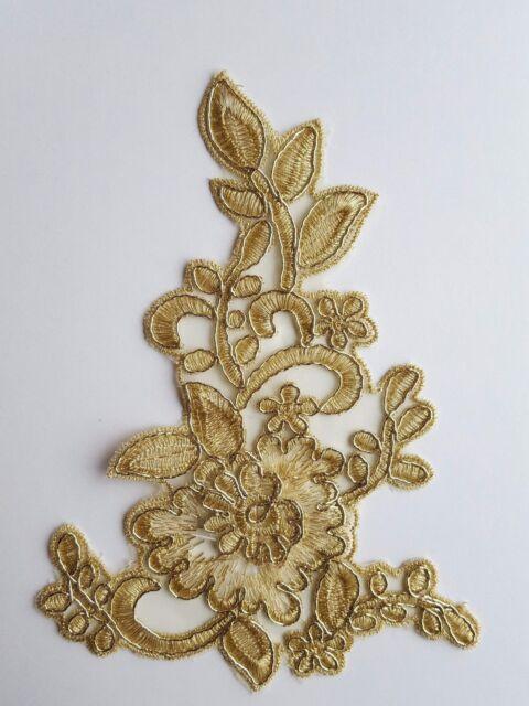 Or 3D Broderie Florale Applique Motif Dentelle à Coudre Trim EB0290