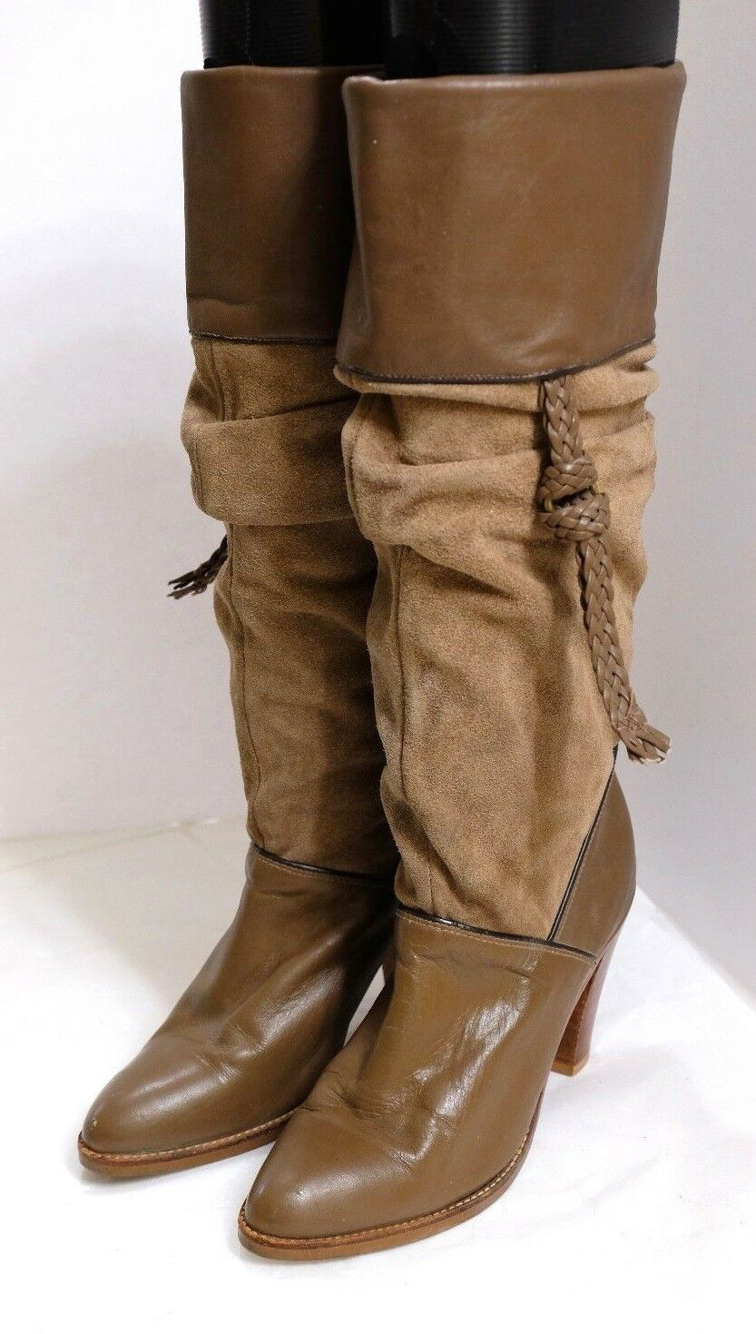 VGUC Dingo Women's Size 5.5M Brown Suede & Leather Knee High Western Boots