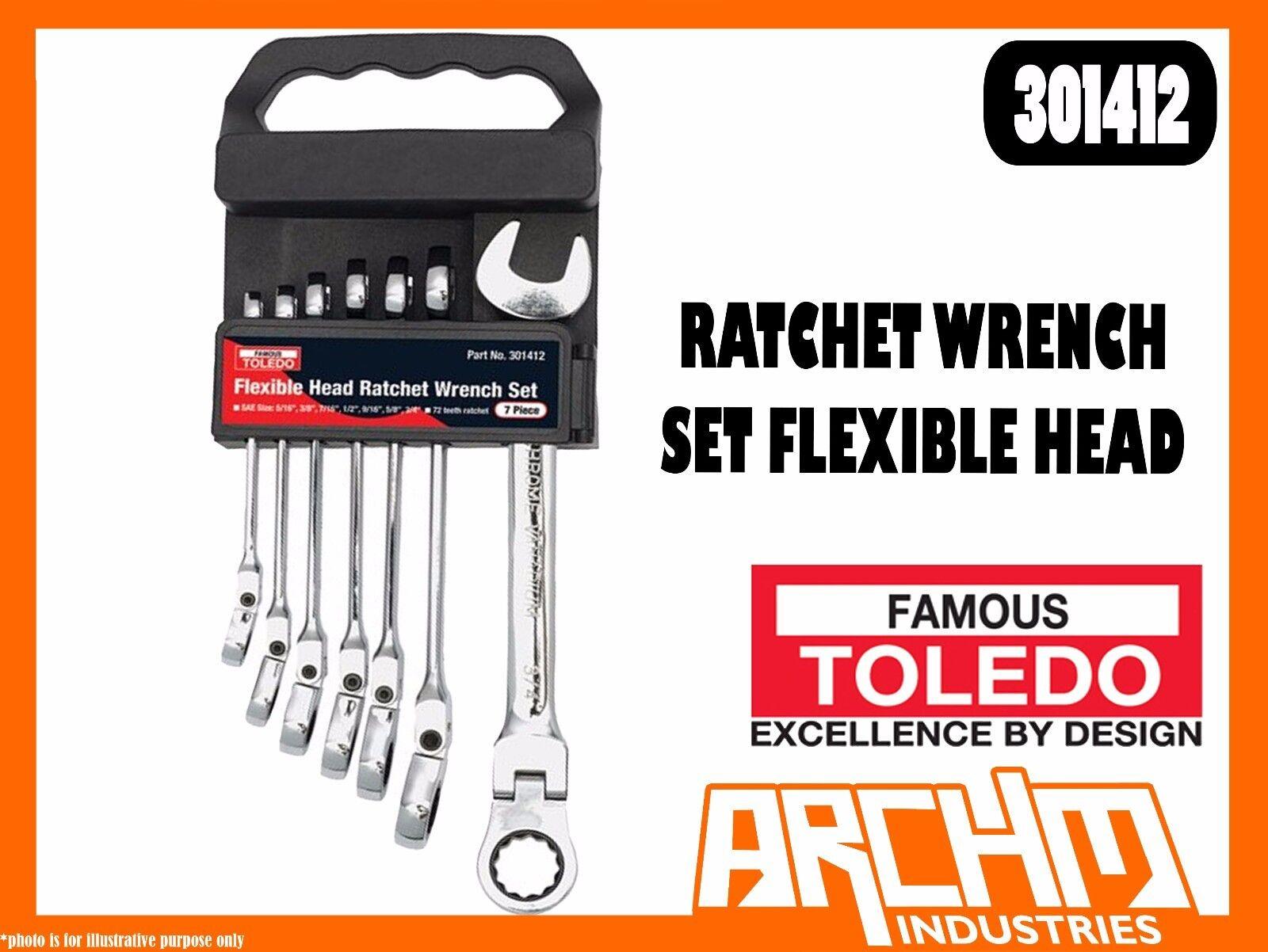TOLEDO 301412 - RATCHET WRENCH SET FLEXIBLE HEAD - SAE 7 PC 5 16 -3 4  RING OPEN