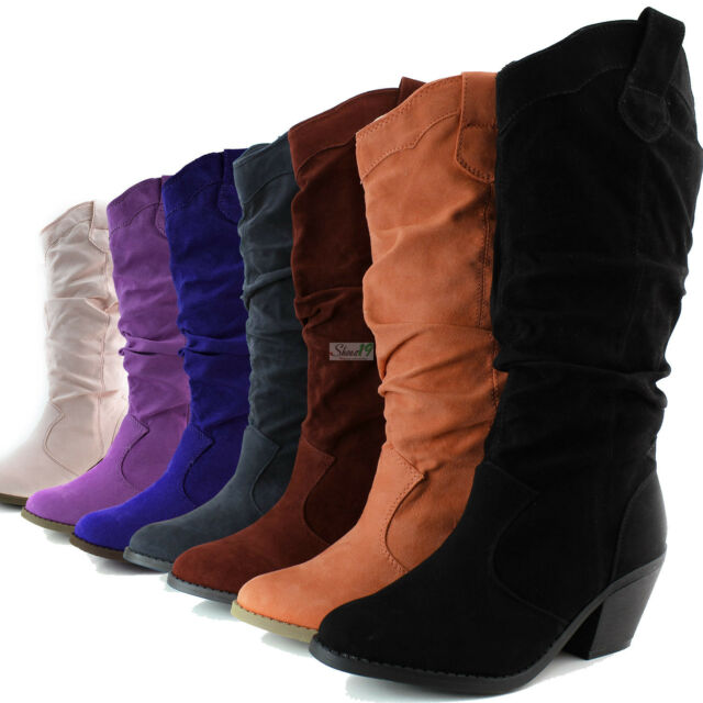 Womens Western Cowboy Boots Mid Calf Casual Slouch Cowgirl Chunky Low Heel Shoes