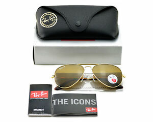 e6c02bed4ad Ray-Ban RB3025 Aviator Classic 001 57 Gold Frame Polarized Brown B15 ...