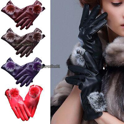HOT Sale Fashion Women Girls Winter Soft Leather Mitten Gloves Warm Driving Gift