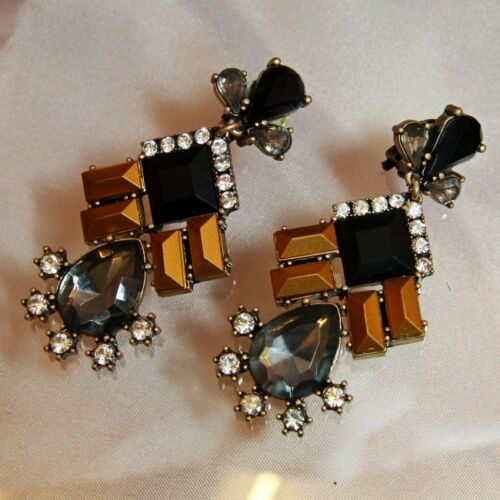 Boucles d/'Oreilles Clip Vintage Noir Art Déco Original Soirée Mariage Cadeau A 1