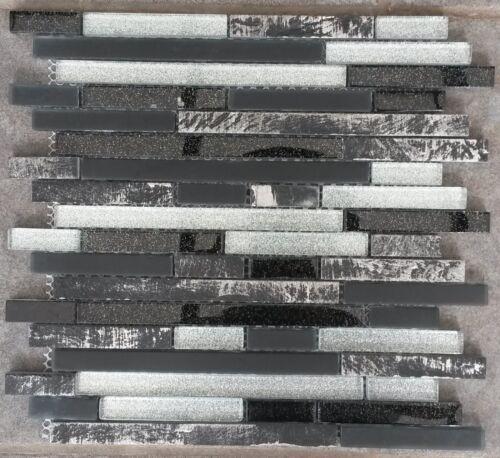 Glasmosaik Marmor Matte Schwarz Silber Weiss Mix Mosaik Fliesen Naturstein M632