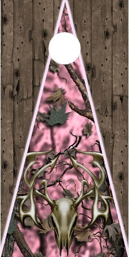 Pink Oak Camouflage wood tribal deer Cornhole board game decal wraps style 1