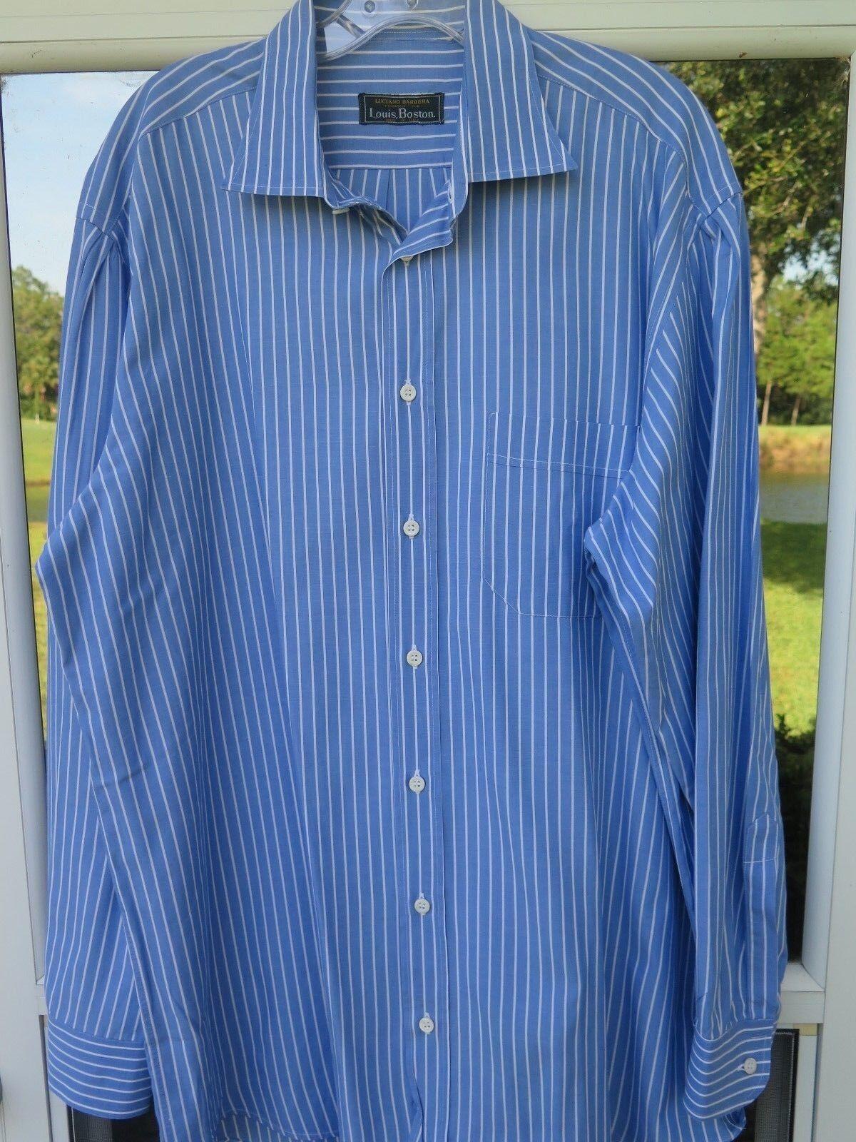 Luciano Barbera Louis Boston Men's bluee White Striped Italian Casual Shirt Large