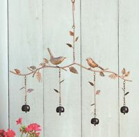 Birds & Bells Branch Mobile Metal Wind Chime Garden Art Flamed Copper Finish