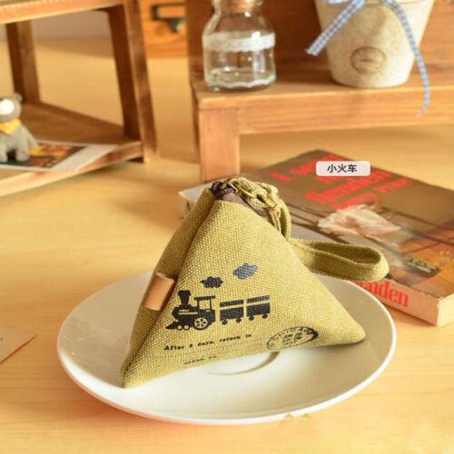 Élégant Mignon Triangle Toile Portefeuille Changement Sac à main Mini Coin Key Bag Vintage