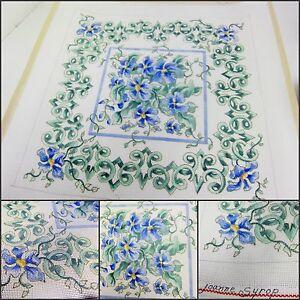 Handpainted Needlepoint Canvas Artist Signed Custom Floral Pillow OOAK 2 Strand