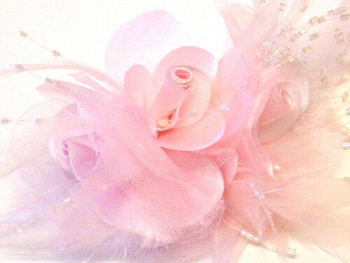 Gorgeous Triple Rose Fascinator With Feathers And Glass Beads In Lovely Pink