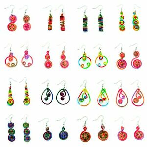Boucles-d-039-oreilles-Legere-Ethnique-Fil-Coton-Multicolor-Spirale-coloree-ete