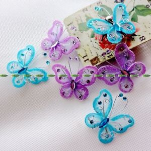 100-x-2-034-Organza-Wire-Butterfly-Craft-Wedding-Party-Decoration-Purple-Blue