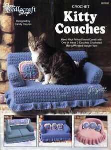 Kitty Couches ~ Cat Couch Beds & Pillows Afghan crochet pattern booklet