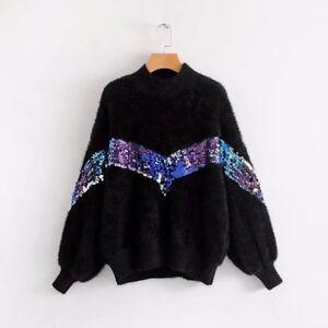 Chaude shirt Cou Longues Pull Femme Manches Doux 4458 Sweat Jersey Noir TAzf0qAn