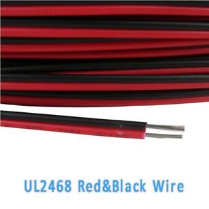 UL2468-16-28AWG-Flat-Ribbon-2-Core-Cable-Red-amp-Black-Stranded-Electronic-Wire