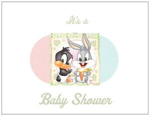 20-Baby-Girl-Boy-BUGS-BUNNY-DAFFY-DUCK-SHOWER-INVITATIONS-Post-Flat-Cards