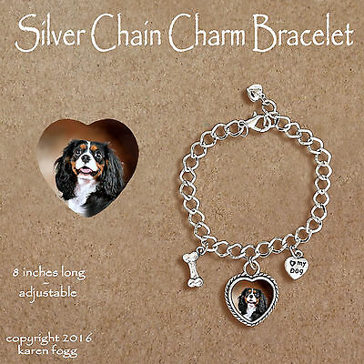 Cavalier King Charles Spaniel Heart Natural Shell European Bracelet Charm EBS311