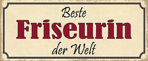 Best Hairdresser the World Tin Sign Shield Arched 10 X 27 CM K1159