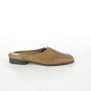 Vintage-90-039-s-Minimalist-Woven-Brown-Leather-Clog-Mules-Slide-Shoes-SZ-7-1-2-M