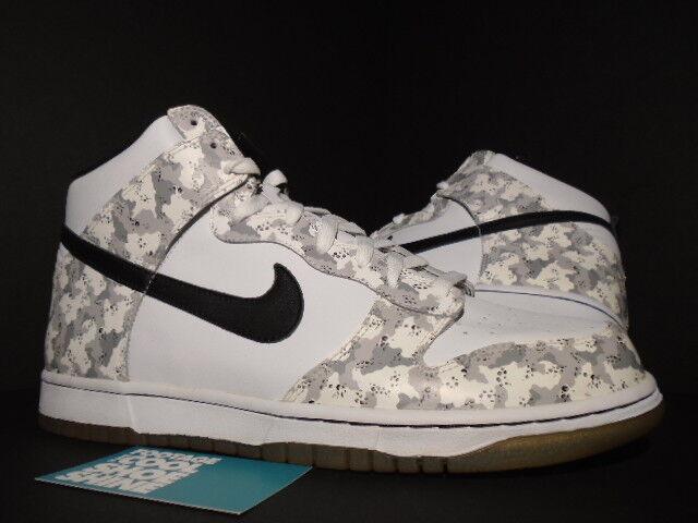 2006 Nike SB DUNK HIGH SNOW CAMO WHITE BLACK STEALTH GREY 309432-102 NEW 11.5