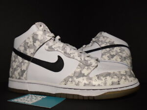 sale retailer f757a 008fa Details about 2006 Nike SB DUNK HIGH SNOW CAMO WHITE BLACK STEALTH GREY  309432-102 NEW 11.5