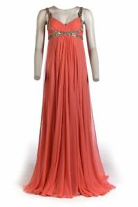 MARCHESA-Dress-Coral-Silk-Full-Length-Sequin-Detail-Size-6-UK-10-RWH-215