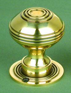 Pair Of Large Antique Solid Brass Bloxwich Door Knobs / Handles