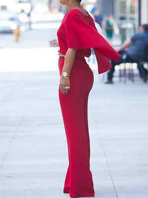 Red V Neck Rompers Women Playsuit Cape Jumpsuit Pants with Belt Fashion Trousers