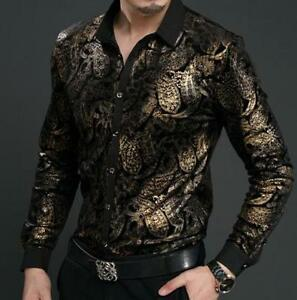b60f7a2a3df Chic Mens Floral Pattern Shirts Dress Luxury Silk Velvet Tops Long ...