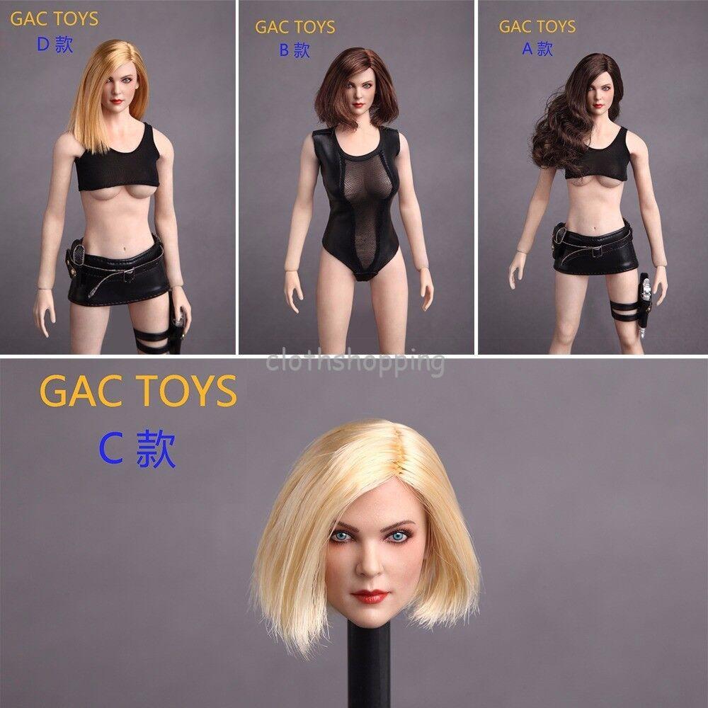 1 6 European Female Long & Short Hair Head Sculpt Carved Model F12'' Phicen Body
