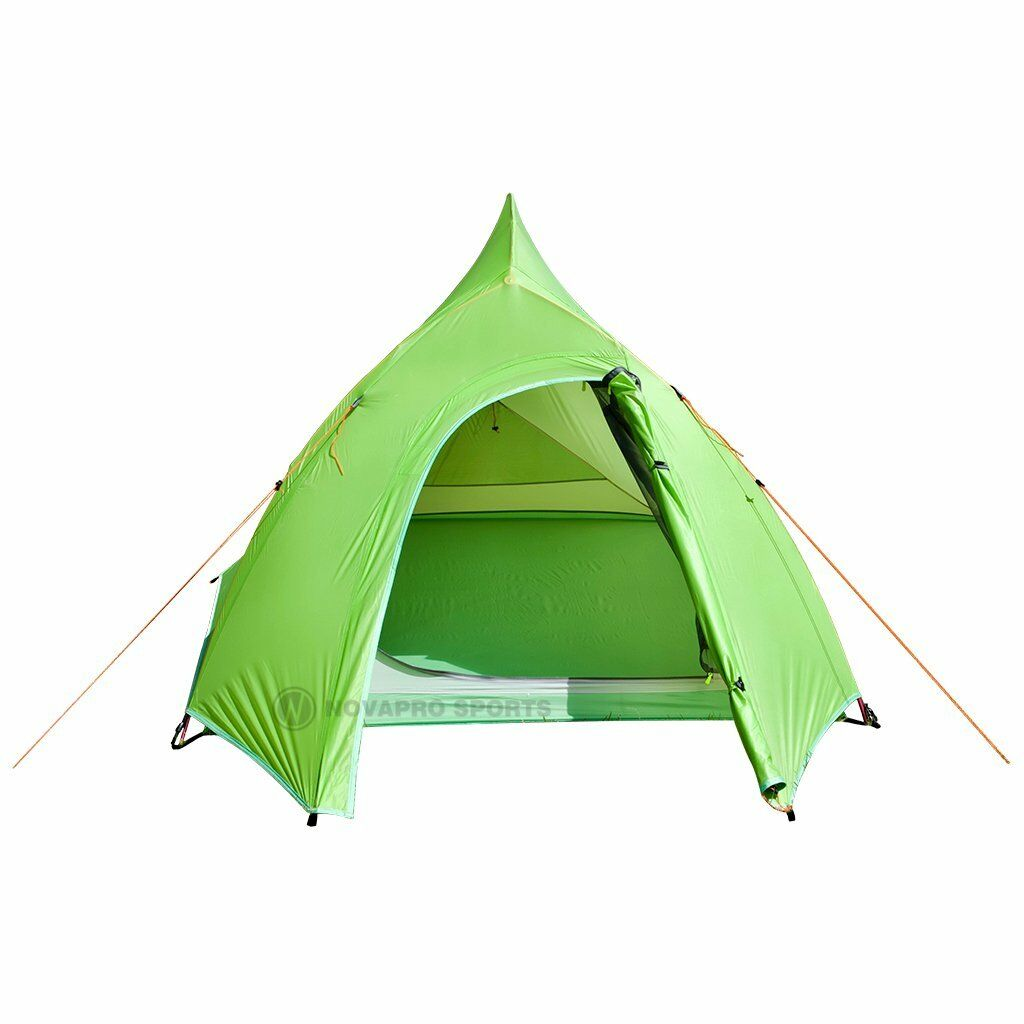 NEW 2 Man Person Tent Hiking Travel Snow Winter 4 Season Double Layer - Grün