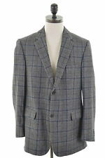 BURBERRY Mens 2 Button Blazer Jacket Size 42 Large Grey Check Wool