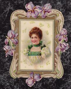 Victorian-Die-Cut-Scrap-Portrait-of-Woman-in-Iris-Frame-Embossed-amp-Gilded-4-x-3-034
