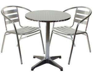 Image Is Loading Aluminium Silver Patio Bistro Cafe Set Table Chairs