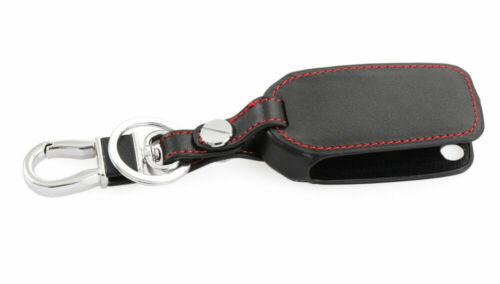 VW Black Leather Key Cover Case /& Key Chain For Volkswagen /& Skoda UK Free P/&P