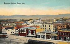 BUSINESS SECTION RENO NEVADA TRAIN DEPOT HARDWARE STORE RAILROAD POSTCARD (1910)