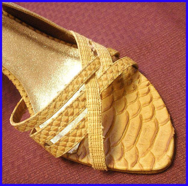 ISABELLA FIORE Beige   Tan  295 STRAPPY Slingback CROCODILE High Heel SHOES 8.5