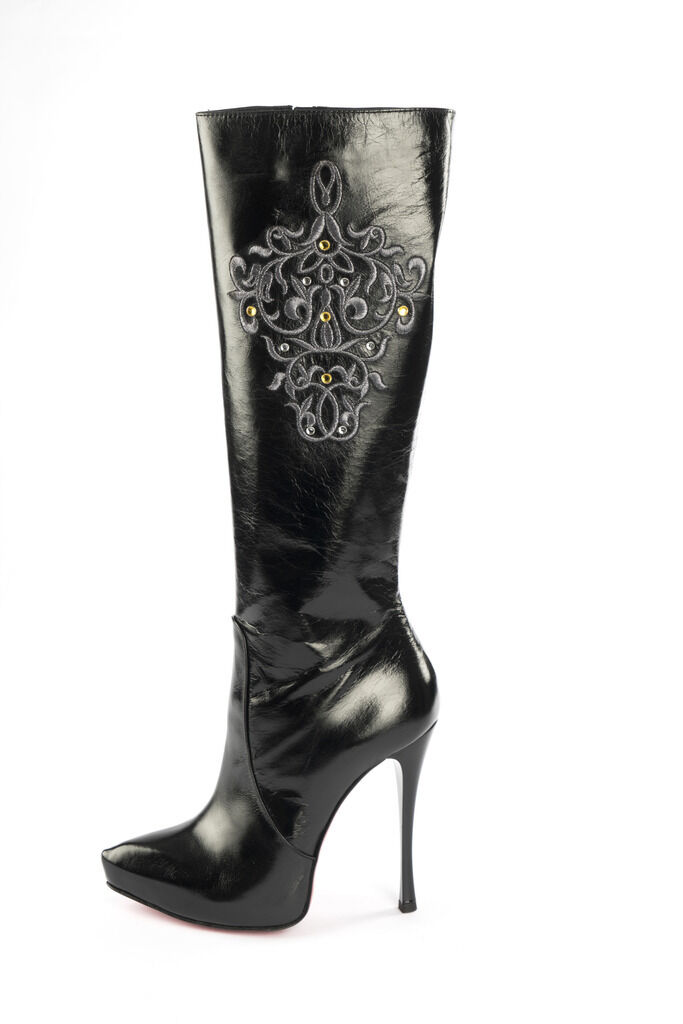 MORI ITALY PLATFORM KNEE HIGH BOOTS STIEFEL STIVALI LEATHER SILVER BLACK NERO 43