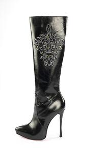 Stiefel 43 Platform Leather Stivali Mori Boots Knee Nero Black Silver High Italy wBw6FRX