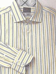 THOMAS-DEAN-Men-039-s-Dress-Shirt-XL-Green-Blue-Stripe-Button-Up-Front-Long-Sleeve