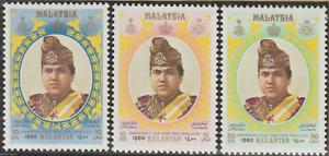 86A-MALAYSIA-1980-KELANTAN-SULTAN-SET-3V-FRESH-MNH-CAT-RM11