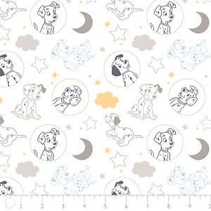 Disney-101-Dalmatians-Time-for-Bed-White-Camelot-100-Cotton-fabric-by-the-yard