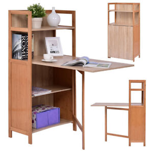 Image Is Loading Fold Out Cabinet Folding Desk Convertible Workstation Book