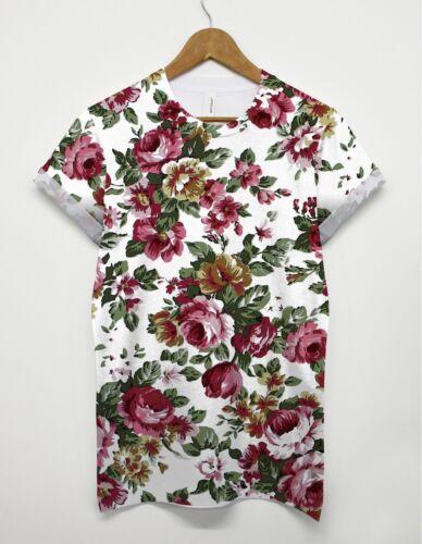 Motif floral t shirt rose fleur Festival partout imprimer top hommes femmes unisexe