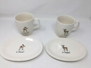 NEW-Rae-Dunn-Christmas-On-Dancer-On-Dasher-Cups-And-Plates-DessertSet-Of-4