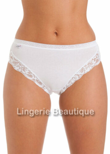 3 Pack La Marquise Ladies Cotton High Leg Briefs Knickers with Lace Size 10-18