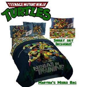 teenage mutant ninja turtles boys blue twin/full size bedding
