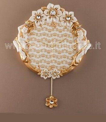 Orologio A Pendolo Da Parete In Ceramica Bianco-foglia Oro Via Veneto Il Consumo Regolare Di Tè Migliora La Salute